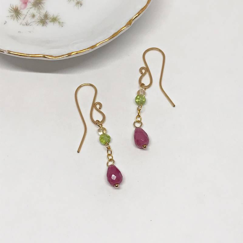fashion bronze oreille domi finition boucle en perles pearls violet jade bijoux earrings fantaisie finish purple