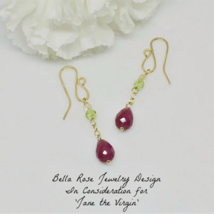 purple jade dangle earrings