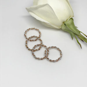 rose gold mixed metal rope rings