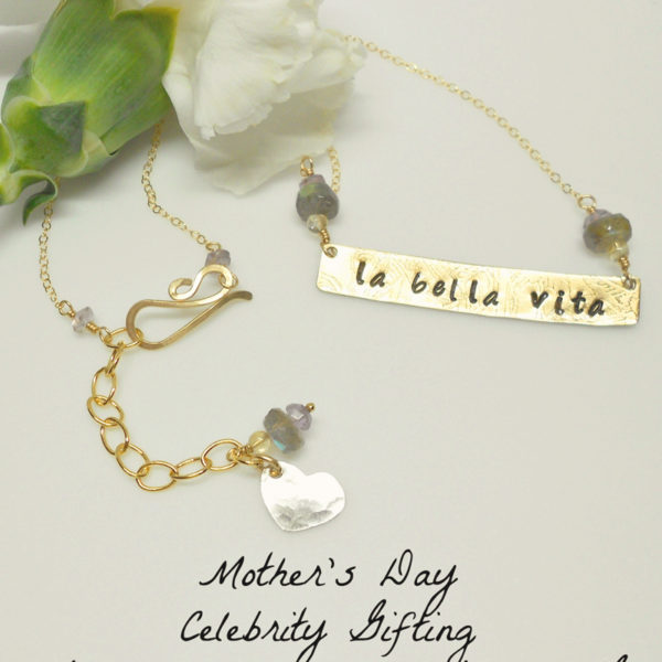 """la bella vita"" stamped necklace"