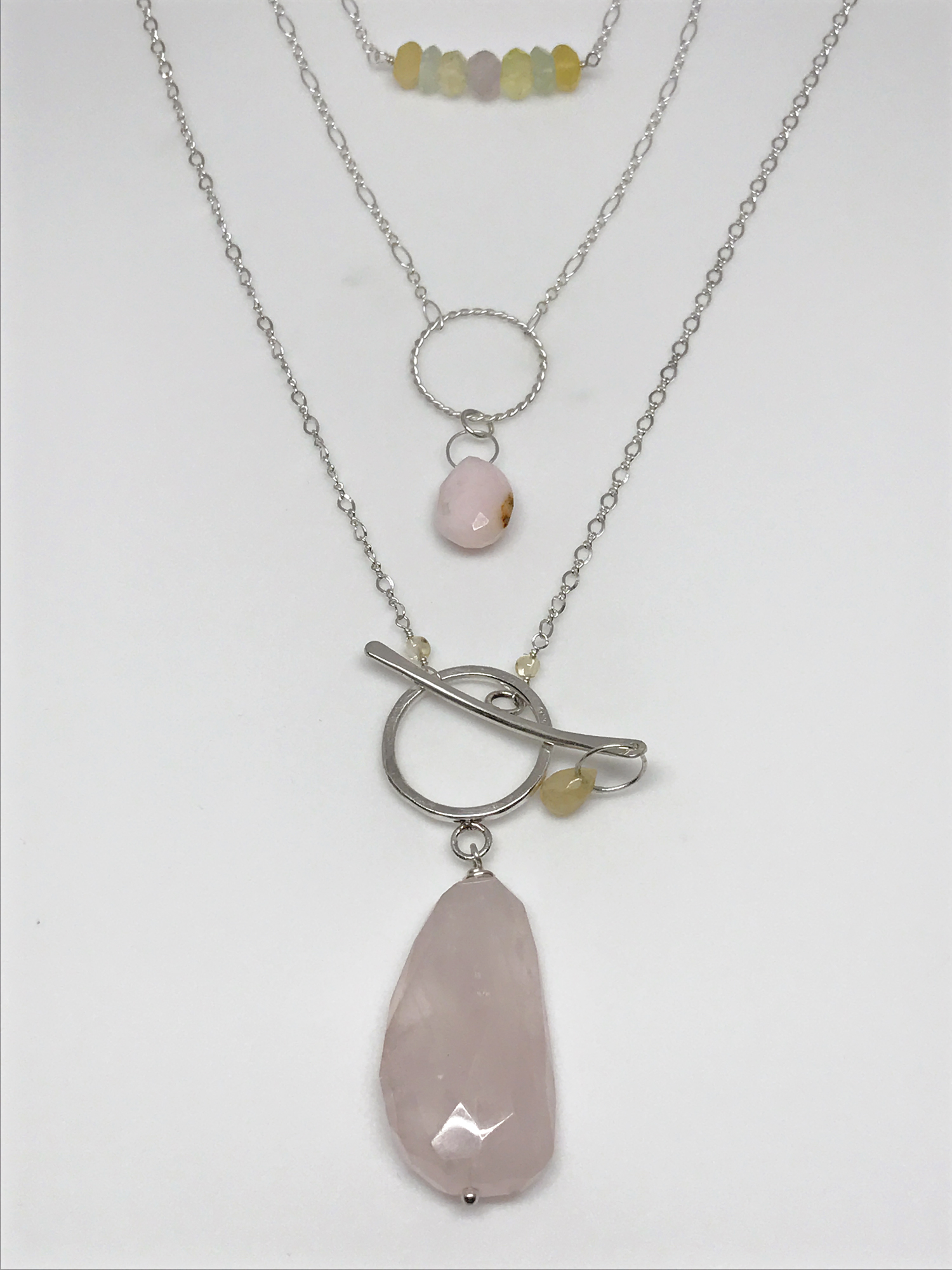 Pink peruvian opal necklace