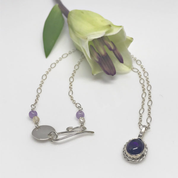 roped amethyst pendant necklace