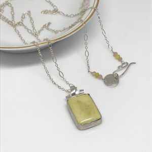 yellow jade and silver necklace