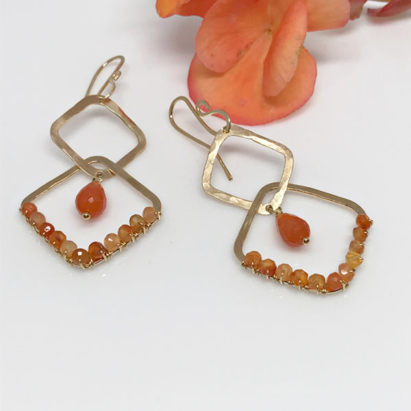 carnelian gold boho earrings