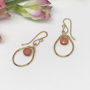 rhodochrosite teardrop earrings