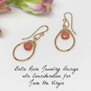 pink gemstone teardrop earrings