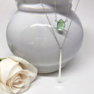 Fluorite Teardrop with Silver Pendulum Necklace