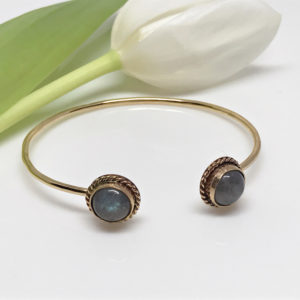 Gold Labradorite Open Bangle Bracelet