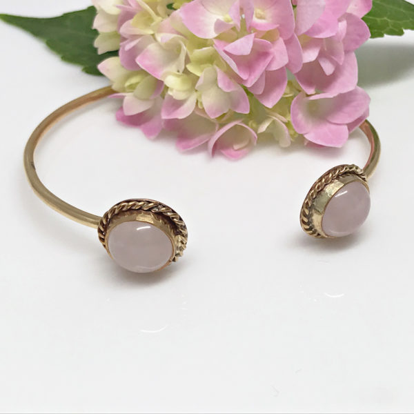 Rose Quartz Open Bangle Bracelet