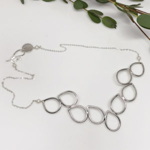 silver dewdrop collar necklace