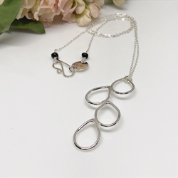 silver falling dewdrop necklace