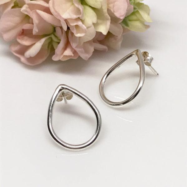 silver dewdrop stud earrings