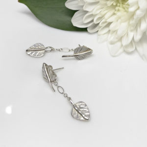 silver double dangle earrings