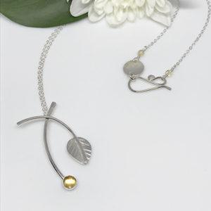 silver leaf gemstone necklace