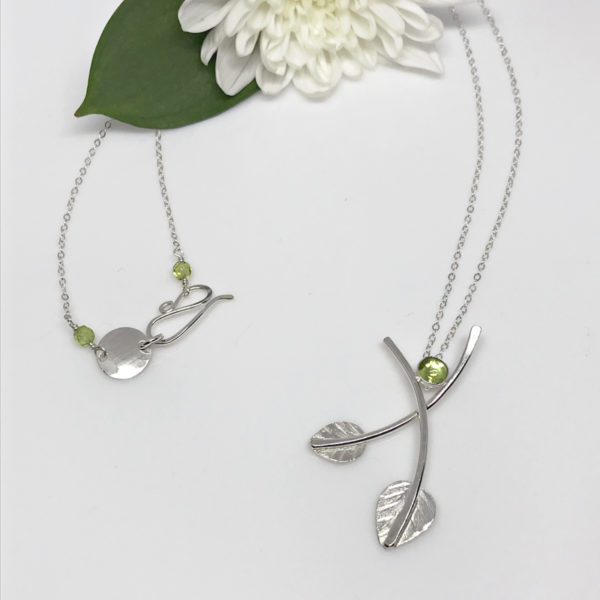double leaf peridot necklace