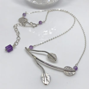 silver leaf branch necklace