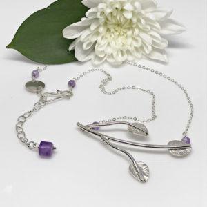 silver leaf branch necklace