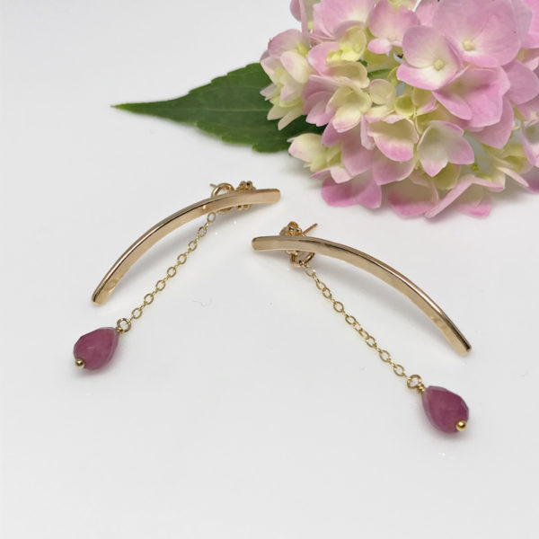 Purple Jade Gold Bar Earrings