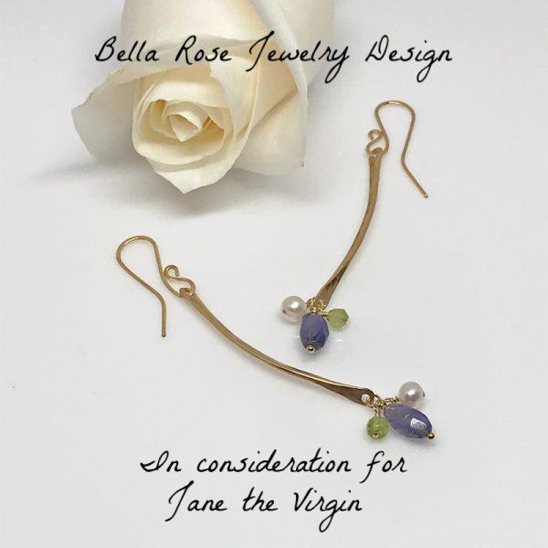 curved gold bar dangle earrings