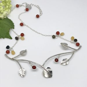 silver fall leaves necklace