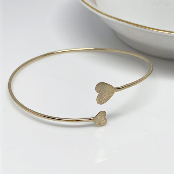 gold heart bangle bracelet