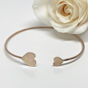 rose gold heart bangle bracelet