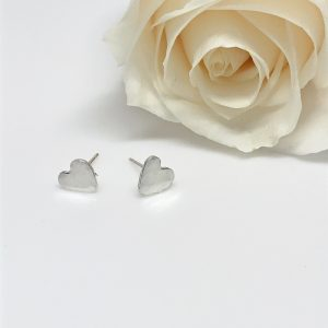Dainty Silver Heart Earrings