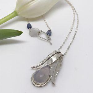 chalcedony teardrop pendant
