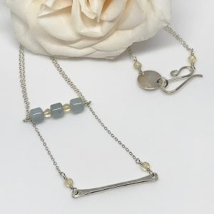 Aquamarine and Silver Double Necklace