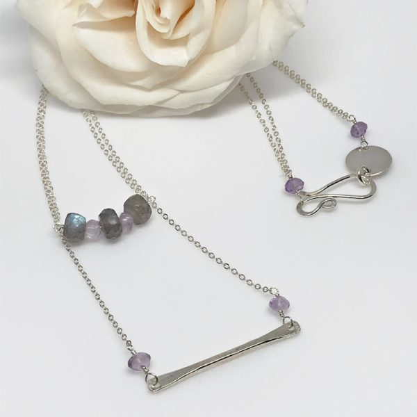 Double Labradorite and Silver Necklace Set