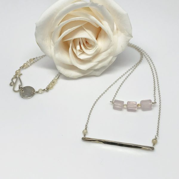 Rose Quartz and Silver Layered Necklace