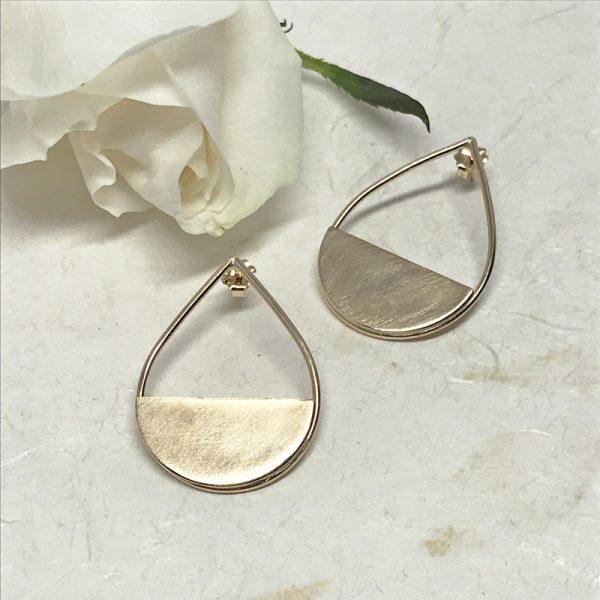 gold teardrop post earrings