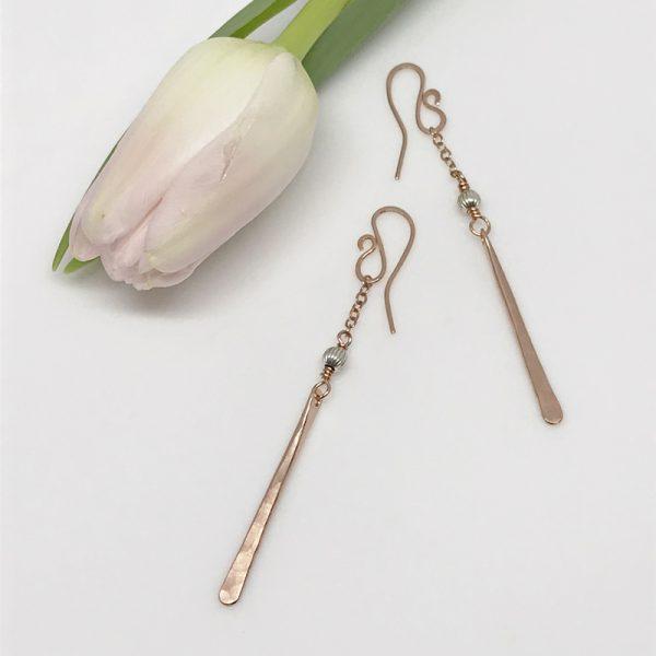 rose gold pendulum earrings