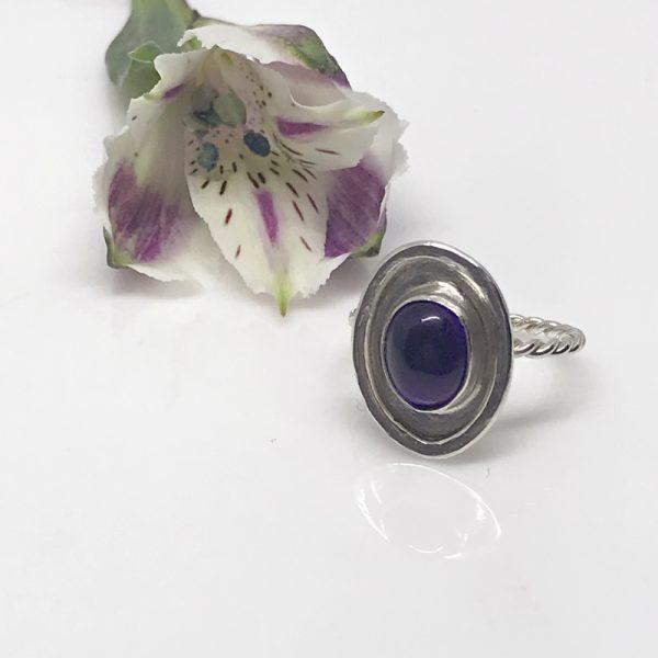 silver amethyst bezel ring