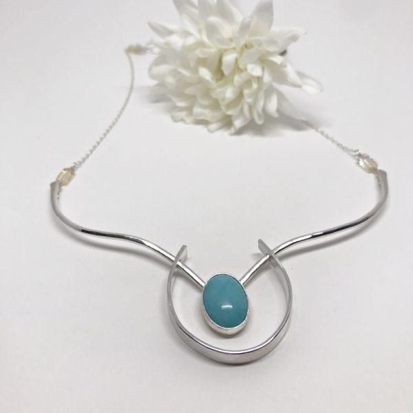 silver amazonite collar necklace