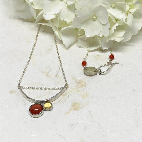 silver carnelian pendant necklace