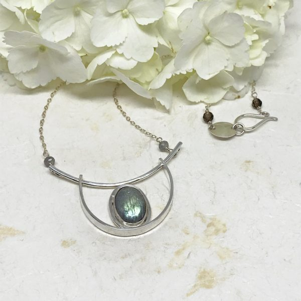 silver labradorite pendant necklace
