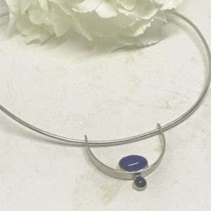 silver lapis collar necklace