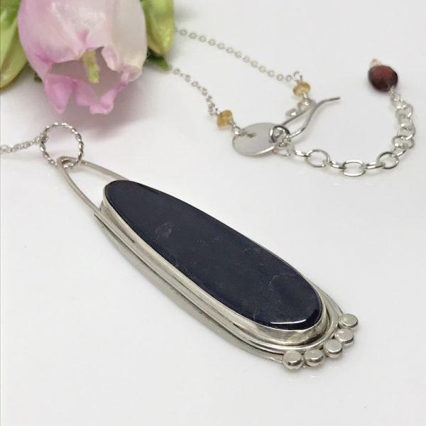 silver sodalite pendulum necklace