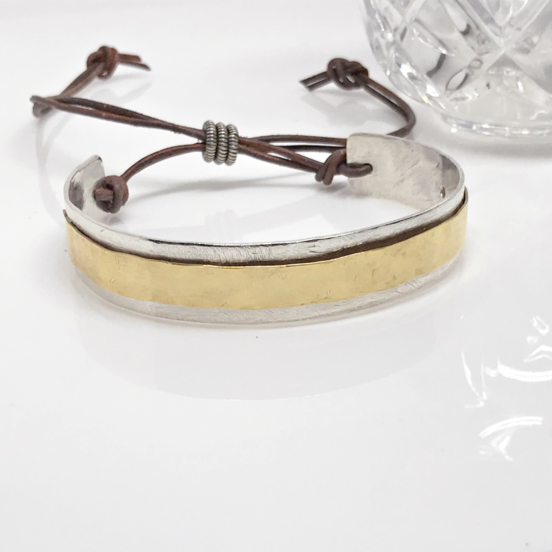 Adjustable Mixed Metal Cuff-185-3