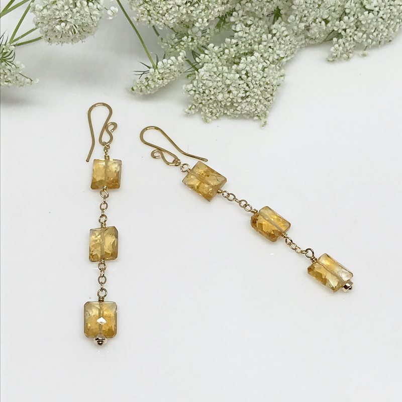 Citrine Drop Earrings-713-4