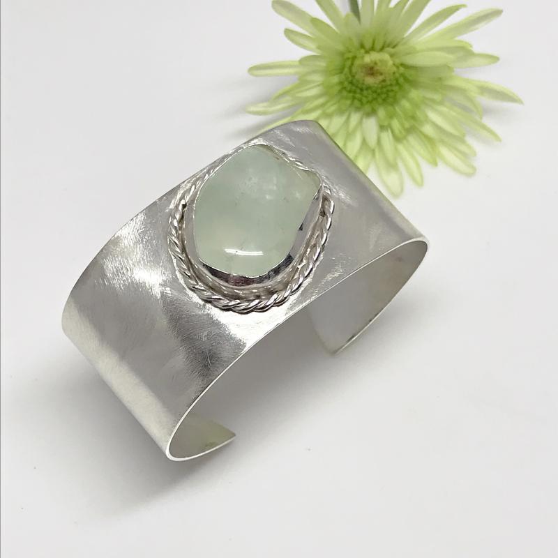 Fluorite Gemstone Brushed Silver Cuff-715-6