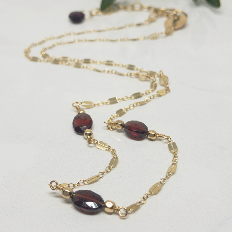 Garnet-Gemstone-Necklace 813-5