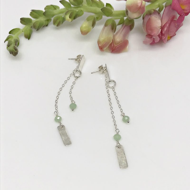 Green Chalcedony Silver Bar Earrings-708-3