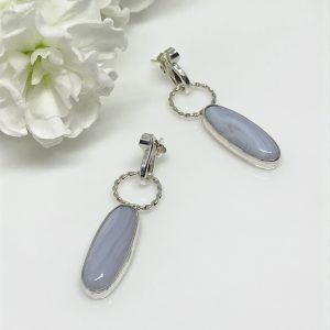 silver bezel set gemstone drop earrings