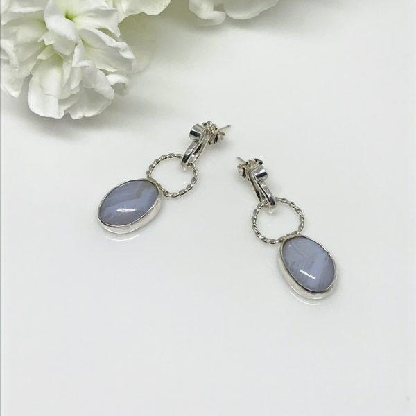 Silver Bezel Set Gemstone Drop Earrings