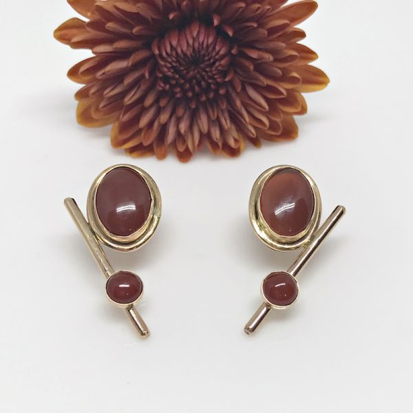 Art Deco Carnelian Post Earrings