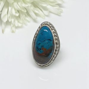 chrysocalla gemstone ring