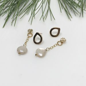 teardrop moonstone post earrings
